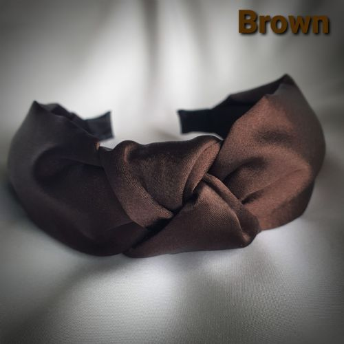 Brown Satin Knotted Headband